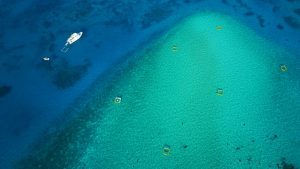 Aroona anchored alongside coral spawn rearing ponds at Vlsaoff sand cay.